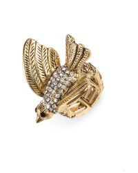 Cara | Metallic Critters Pavé Bird Stretch Ring | Lyst