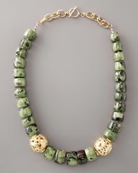 Devon Leigh - Green Coral Stone Necklace - Lyst