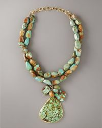 Devon Leigh | Blue Big Stone Turquoise Necklace | Lyst