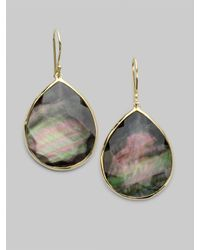 Ippolita | Metallic Black Shell & 18k Gold Large Teardrop Earrings | Lyst