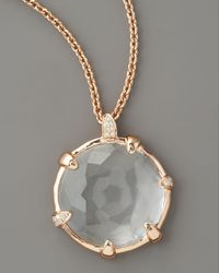 Ippolita - Metallic Rose-gold Clear Quartz with Diamonds Necklace - Lyst