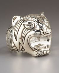 John Hardy | Metallic Macan Silver Tiger Head Ring for Men | Lyst