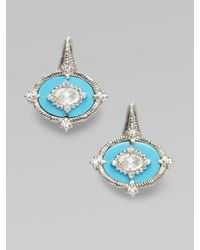 Judith Ripka | Blue White Sapphire, Turquoise & Sterling Silver Earrings | Lyst