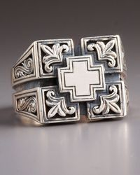 Konstantino - Metallic Etched Maltese Cross Ring for Men - Lyst
