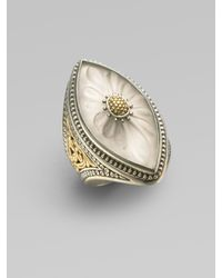 Konstantino | Metallic Sterling Silver & 18k Gold Frosted Rock Crystal Marquis Ring | Lyst