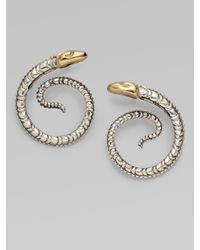 Konstantino | Metallic Sterling Silver & 18k Yellow Gold Snake Earrings | Lyst