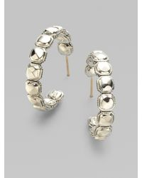 Lagos - Metallic Sterling Silver Rocks Hoop Earrings - Lyst