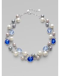Majorica | Blue Pearl, Crystal & Sterling Silver Necklace | Lyst