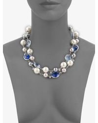 Majorica - Blue Pearl, Crystal & Sterling Silver Necklace - Lyst