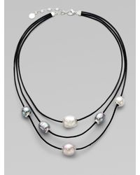 Majorica | 12mm Multicolor Baroque Pearl, Sterling Silver & Leather Cord Multi-row Necklace | Lyst