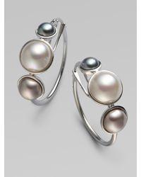 Majorica | Metallic 6mm, 8mm & 10mm Mabe Sterling Silver Pearl Hoop Earrings/1 | Lyst