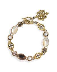 Mars and Valentine | Metallic Crème Fraiche Cream Multi Stone Bracelet | Lyst