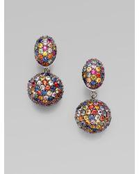 M.c.l  Matthew Campbell Laurenza | Multicolor Multi-colored Sapphire Pavé Drop Earring | Lyst
