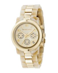 Michael Kors | Metallic Two-tone Jet Set Watch, Horn/gold for Men | Lyst