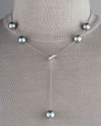 Mikimoto   White Pearls-in-motion Chain Pearl Lariat Necklace   Lyst
