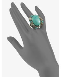 Ranjana Khan | Blue Turquoise & Crystal Cocktail Ring | Lyst