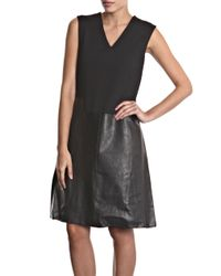Raoul | Black Leather and Wool Dress | Lyst