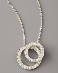 Roberto Coin | White Pave Diamond Double Circle Necklace | Lyst
