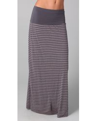 Splendid Gray Mixed Stripe Maxi Skirt