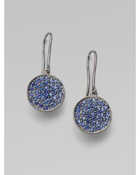 Sydney Evan - Blue Sapphire & 14k White Gold Disc Earrings - Lyst