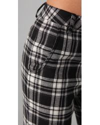 Adam Lippes - Black Plaid Straight Leg Pants - Lyst