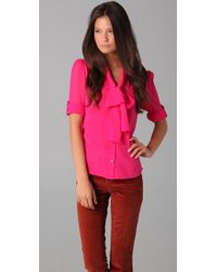 Alice + Olivia | Pink Arie Tie-neck Blouse | Lyst