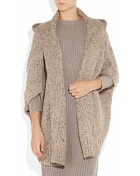 Donna Karan | Natural Oversized Hooded Cashmere Cardigan | Lyst