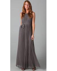 Halston | Gray Pleated Long Dress | Lyst