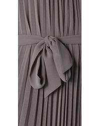 Halston - Gray Pleated Long Dress - Lyst