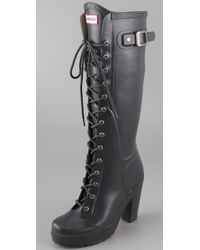 HUNTER | Gray Lapins Lace Up High Heel Boots | Lyst