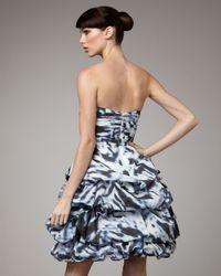 Monique Lhuillier - Blue Tufted-skirt Cocktail Dress - Lyst