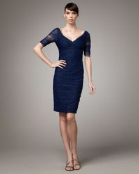 Monique Lhuillier - Blue Ruched Cocktail Dress - Lyst