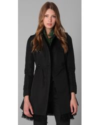 RED Valentino | Black Trench Coat with Lace Trim | Lyst