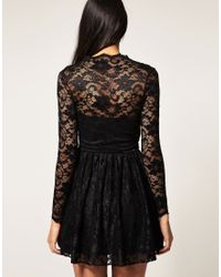 ASOS Collection - Black Asos Lace Skater Dress with Long Fitted Sleeves - Lyst