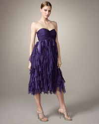 Badgley Mischka | Purple Strapless Shredded-skirt Dress | Lyst