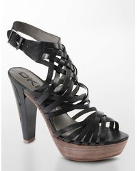 DKNY - Black Roberta Strappy Leather Platform Sandals - Lyst
