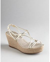 Elie Tahari | Metallic Miranda Strappy Wedge Sandals | Lyst