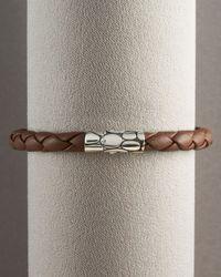 John Hardy - Brown Woven Leather Bracelet for Men - Lyst