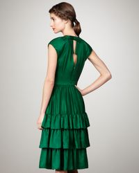 MILLY | Green Ruffled Satin Dress | Lyst