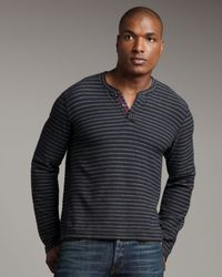 Bliss and Mischief | Cruz Striped Henley, Black for Men | Lyst