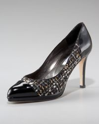 Oscar de la Renta | Black Cap-toe Tweed Pump | Lyst