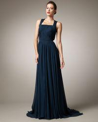 Pamella Roland - Blue Square-neck Chiffon Gown - Lyst