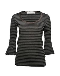 Sacai | Gray Striped Ruffle-sleeve T-shirt | Lyst