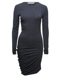 T By Alexander Wang | Blue Ruched Long Sleeve Dress | Lyst