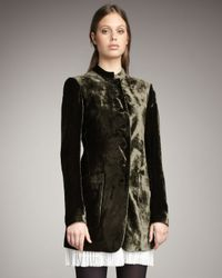 Theory - Green Long Crushed Velvet Jacket - Lyst
