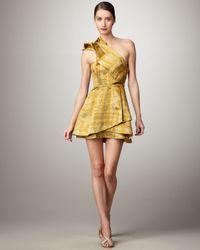 Vera Wang Lavender | Yellow Asymmetric-strap Printed Taffeta Dress | Lyst