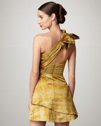 Vera Wang Lavender - Yellow Asymmetric-strap Printed Taffeta Dress - Lyst
