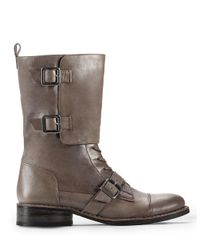 Lyst Vince Camuto Fergus Buckled Leather Boots In Gray