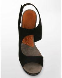 Chie Mihara - Black Tasca Suede Platform Sandals - Lyst