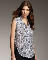 Theyskens' Theory | Blue Leopard-print Sleeveless Blouse | Lyst